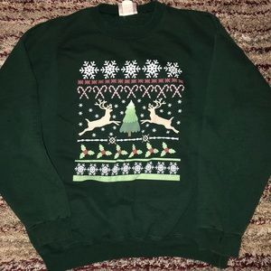 Green pull over Christmas sweater